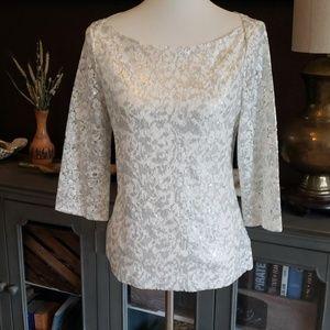 Banana Republic lace sequin blouse